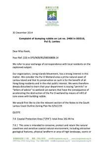 LIM Letter to EPD about Pui O dumping - 20141230 p1