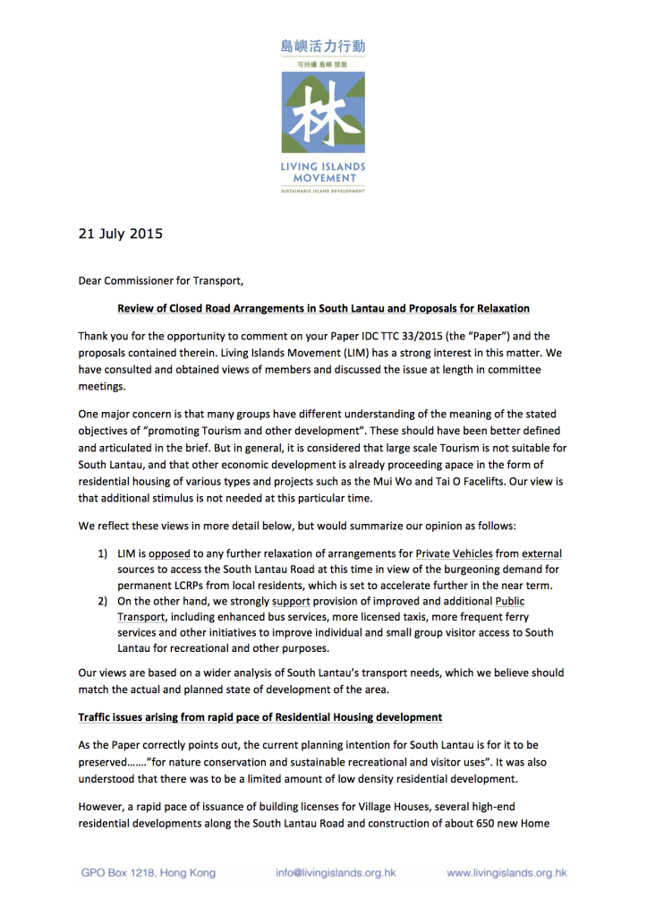 Response to TD re Lantau Roads by Living Islands Movement pg 1